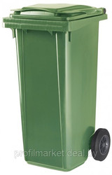Пластиковый мусорный контейнер 120 л. зеленый