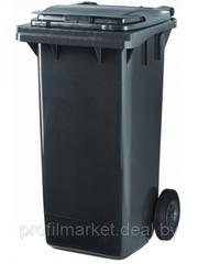 Пластиковый мусорный контейнер 120 л. серый