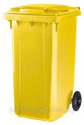 Пластиковый мусорный контейнер 240 л. желтый